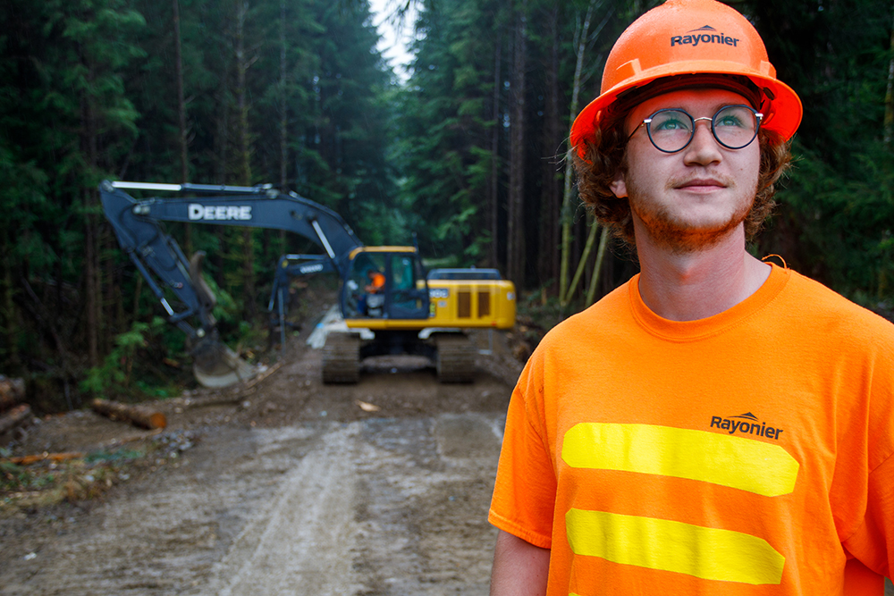 A forest engineer oversees a bridge replacement project