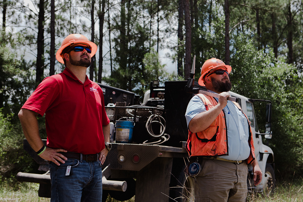 Foresters use scaling tools to measure trees for utility poles