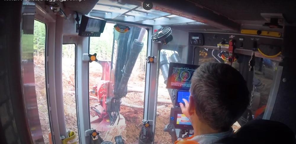 using screens to control winch assist from feller buncher