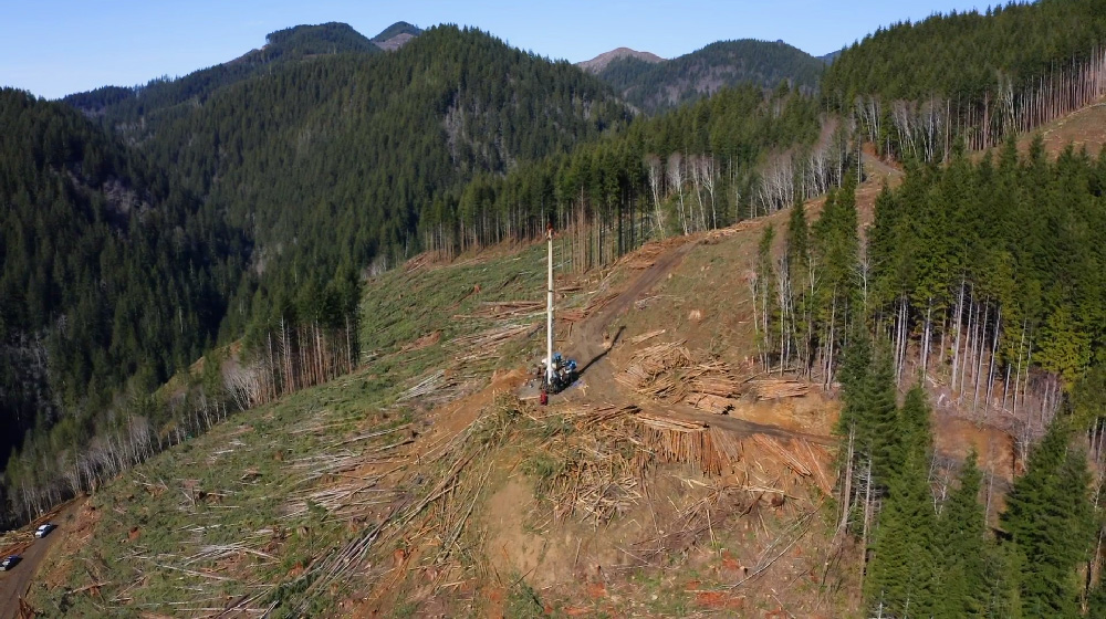 Tower logging aerial view