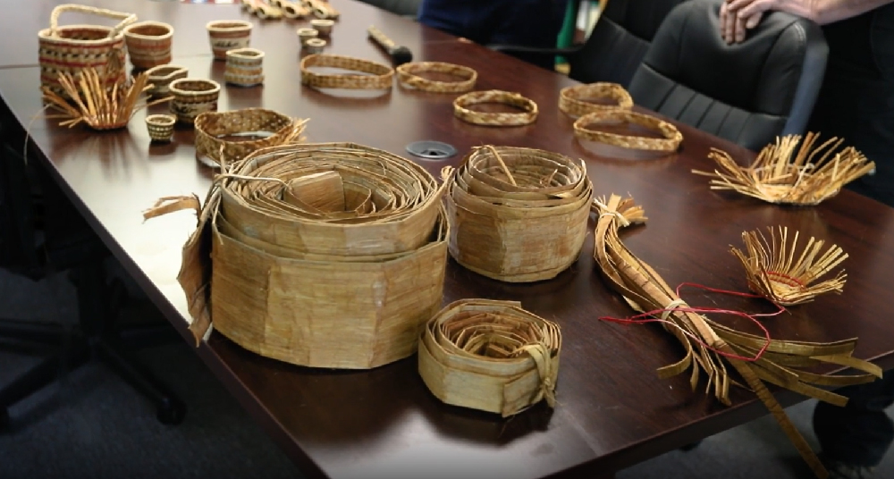Examples of Peeled Cedar Bark and Baskets