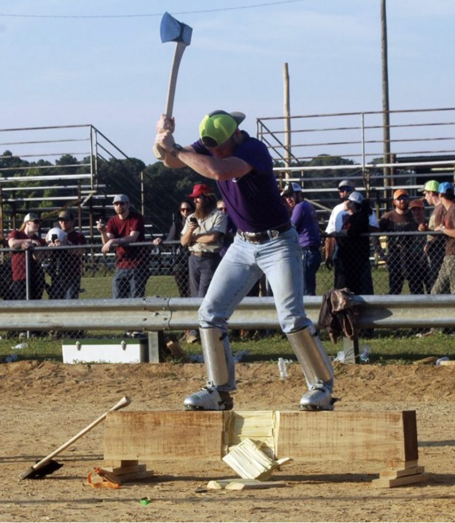 Chopping Wood at Forestry Competition