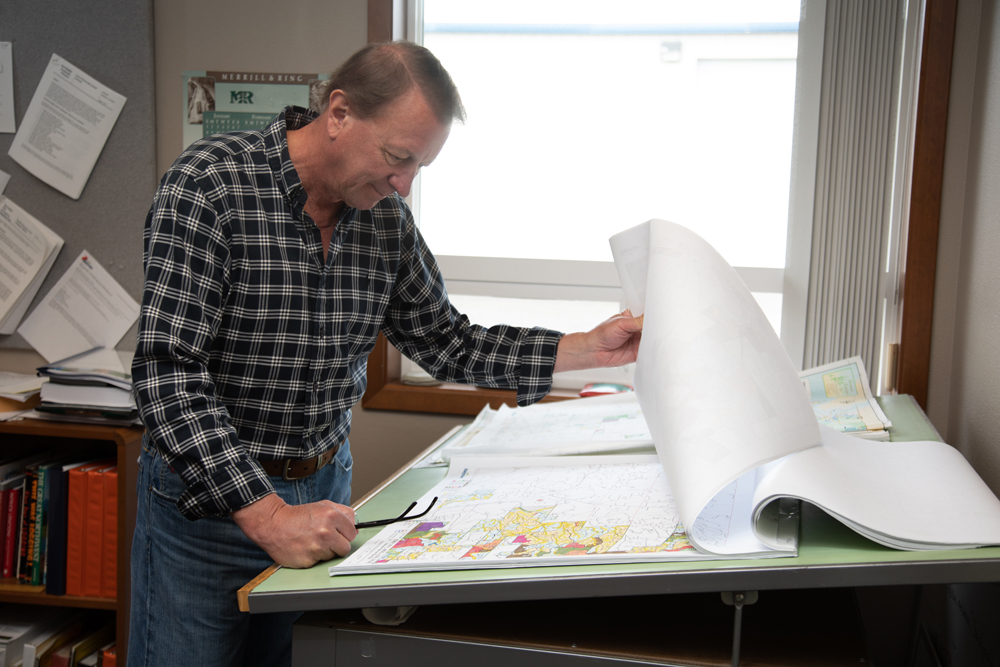 Forester reviewing map of forest