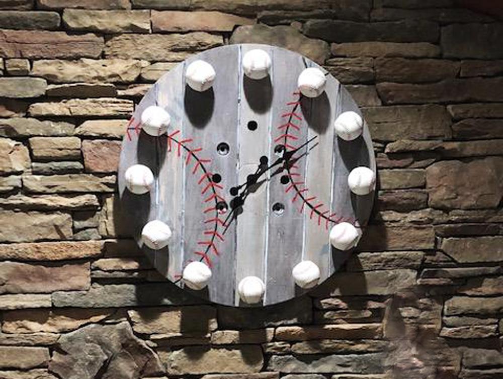 A DIY Wooden Baseball Clock Laura created.