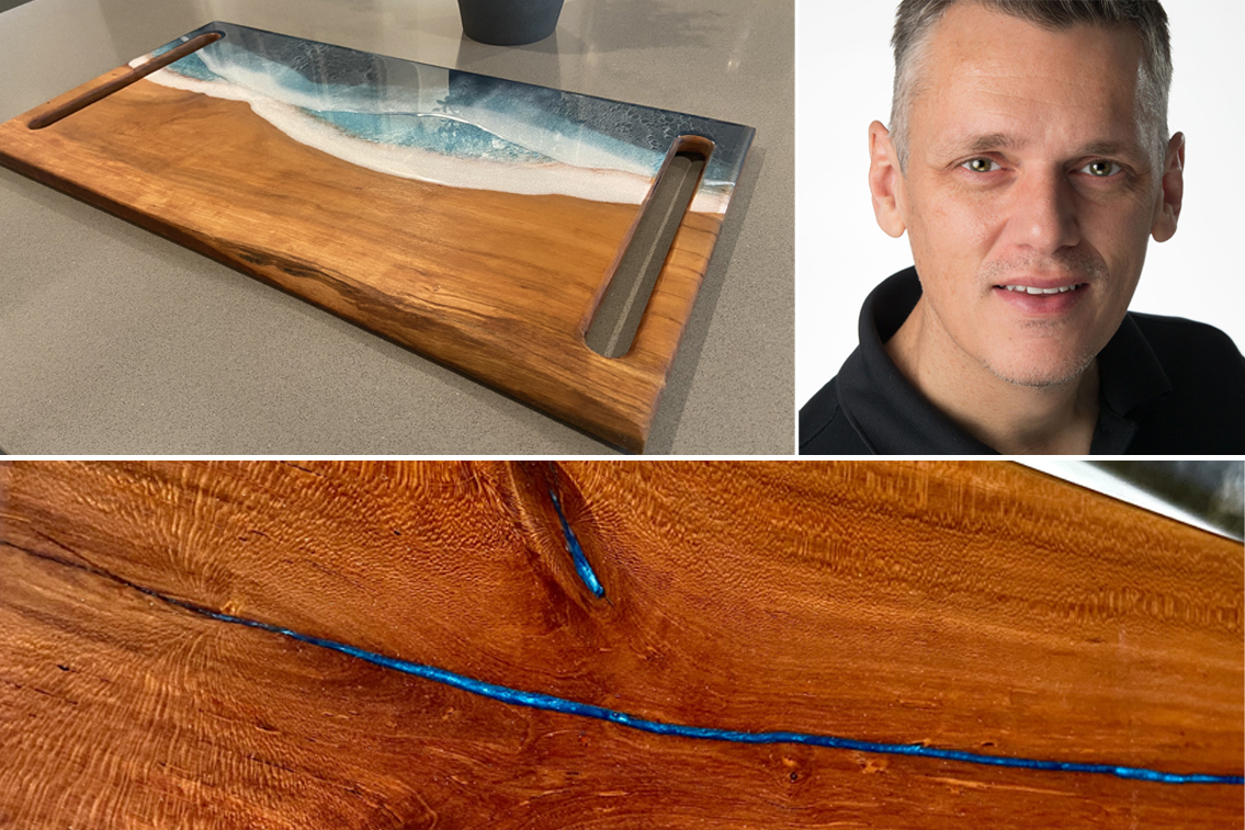 DIYer Robert Hall, a cherry wood and epoxy charcuterie board and a closeup of his river desk