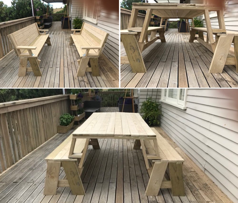 Sam's design of Cape Cod chairs, which can be made into a picnic table by removing the back rests and turning them upside down