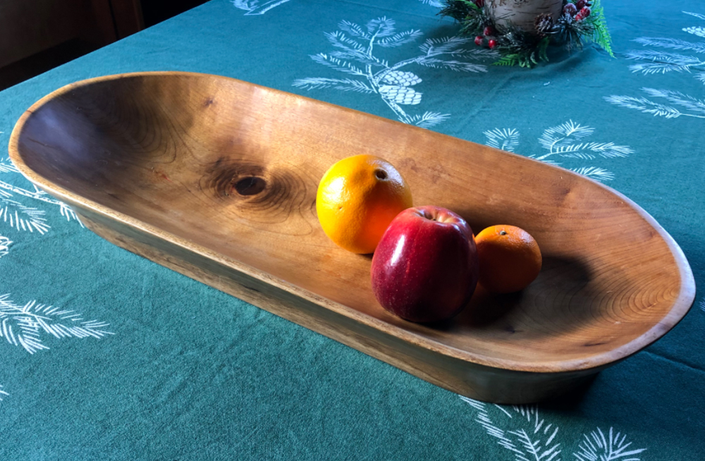 Neris hand-shaped this Bread Kneading Trough from a Myrtle log he salvaged from a logging slash pile in Oregon.