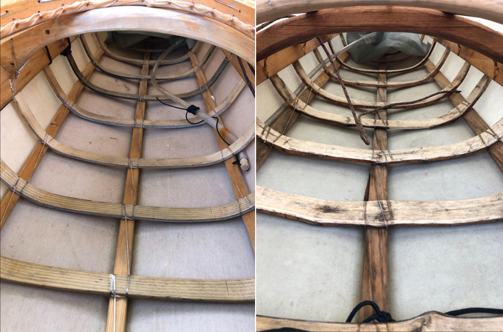 A peek inside the DIY kayaks shows the craftmanship involved in shaping the wooden supports.