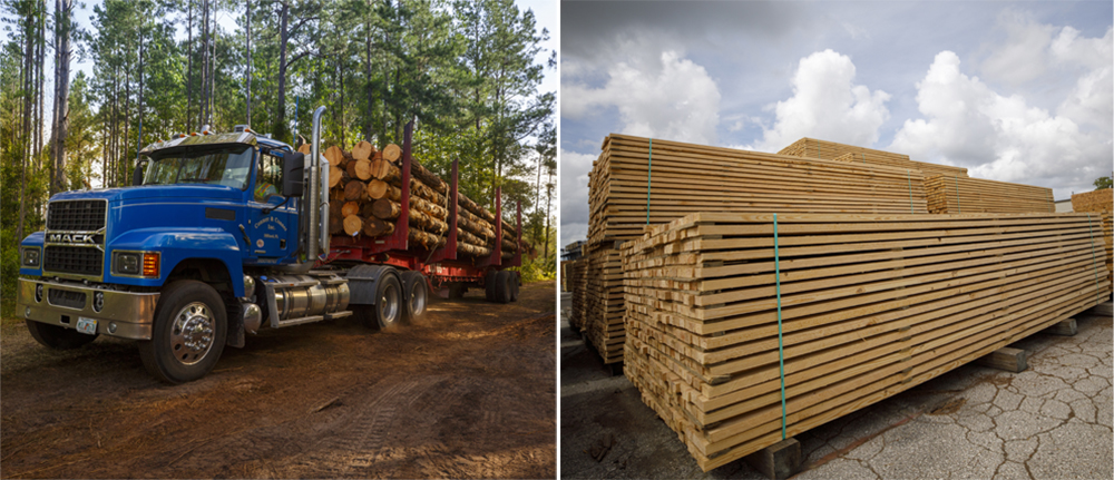 A log truck full of logs and a pile of finished boards