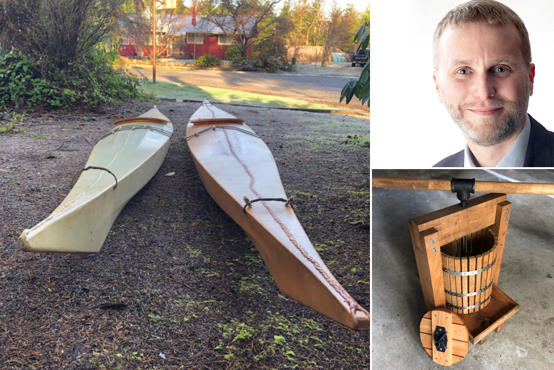 Neris Biciunas enjoys challenging himself with woodworking projects. He built the kayaks and cider press shown here.