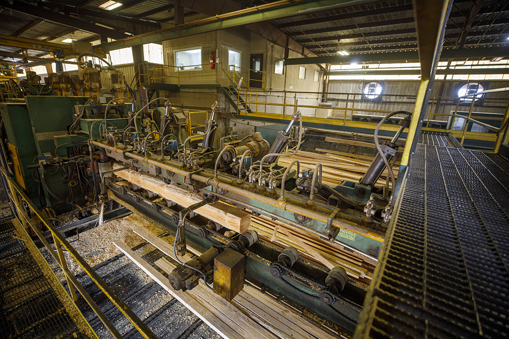 A squared log moves through the mill conveyor belt