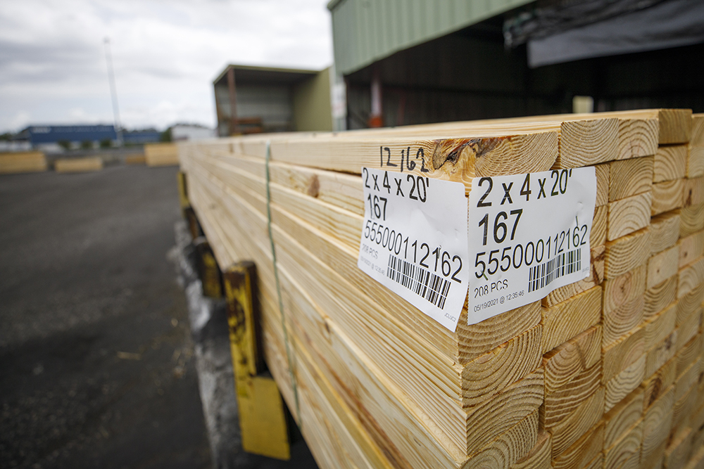 A stack of fresh cut lumber at West Fraser sawmill